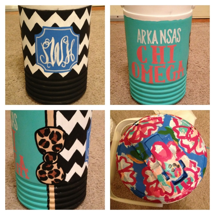 Personalized, painted little coolers for the beach =)