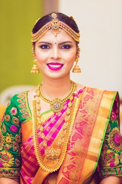 South Indian Jewelry - Gold Matha Patti with Gold Jewelry | WedMeGood #wedmegood #indianbride #indianwedding #bridal #southindianbride #southindianjewelry