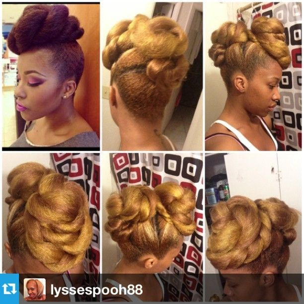 Roll, tuck, pin ..repeat gorgeous updo by IG Iyssespooh88-To learn how to grow your hair longer click here - http://blackhair.cc/1jSY2ux
