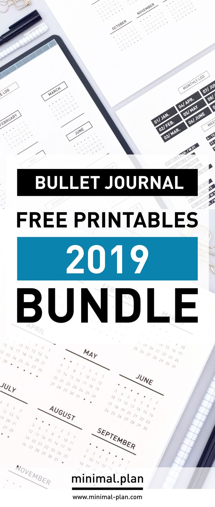 Set-up your bullet journal in no time for 2019 with this free printables bundle …