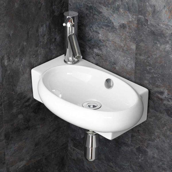 Small Bathroom Cloakroom Wall Hung Basin Sink Black Waste /& Bottle Trap OPTION