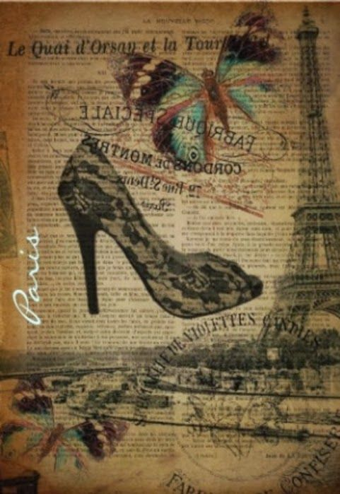 Vintage Paris with Butterfly and Shoe Background