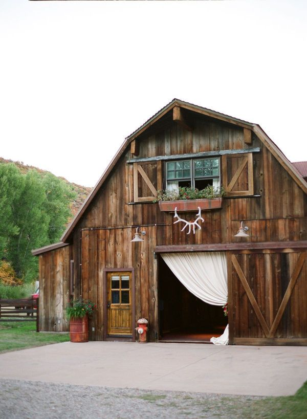 Curtain entrance to barn - I love the antlers!