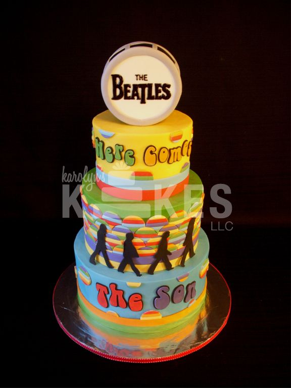 The Beatles baby shower cake.   Here comes the SON :)
