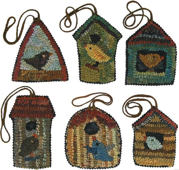 Birdhouse Patterns PDFs for rug hooking and by primitivespirit