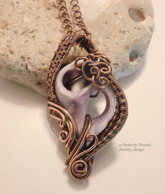 Wire Wrapped Sea Shell Pendant, Sliced Seashell Necklace, Handmade Wire Weave Jewelry, Antiqued Copper Wire Jewelry