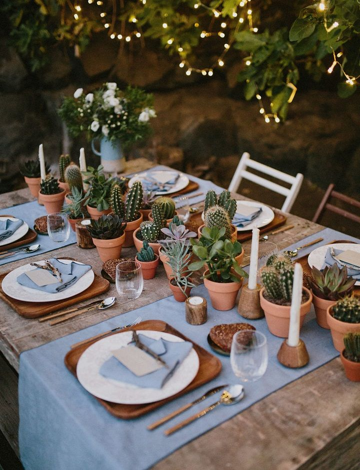 Rustic boho wedding tablescape + cactus candle and succulent #tablescape #bohowedding #cactuswedding