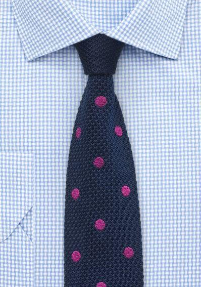 Strick-Krawatte navyblau Pünktchen dunkelrosa