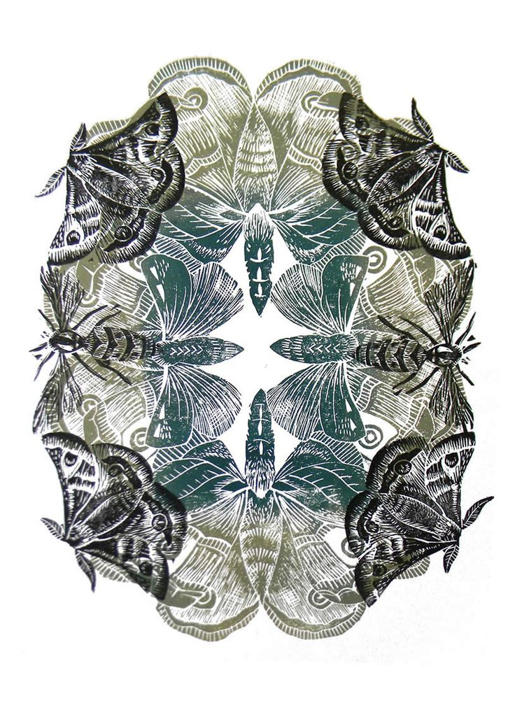 Insects Lino print by Amanda Colville sparks the idea for a radial balance rubber stamping