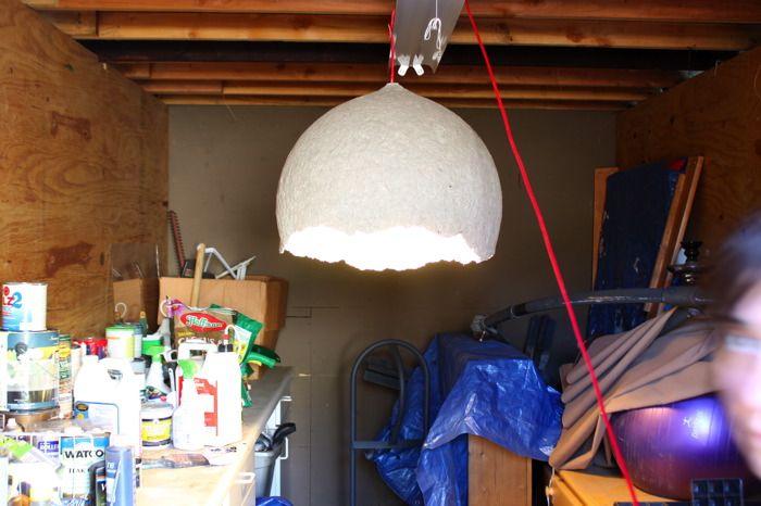 DIY Paper Mache Pendant with textured exterior.