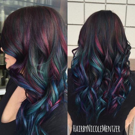 Oil Slick Peekaboo Hair color idea