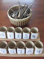 En skål med naturmaterial: stenar/ pinnar. Rätt antal till rätt siffra