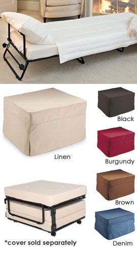 Fold-Out Ottoman Bed Hide a guest bed in plain sight! Ottoman by day...bed by night.  $199