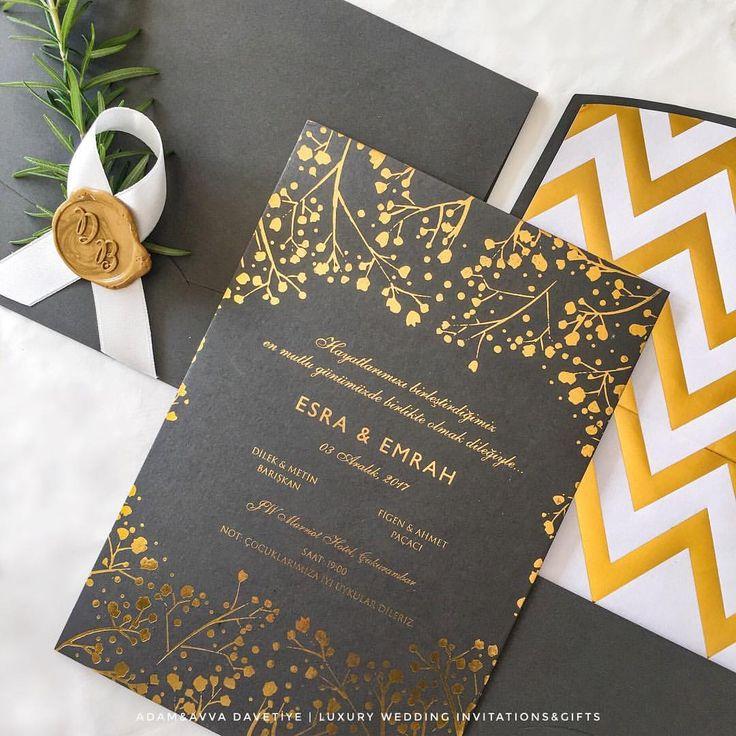 Altın Yaldız Baskılı, Zarf Astarlı, Gri Lüks Düğün Davetiyesi - Luxury Grey Wedding Invitation with Gold Foil
