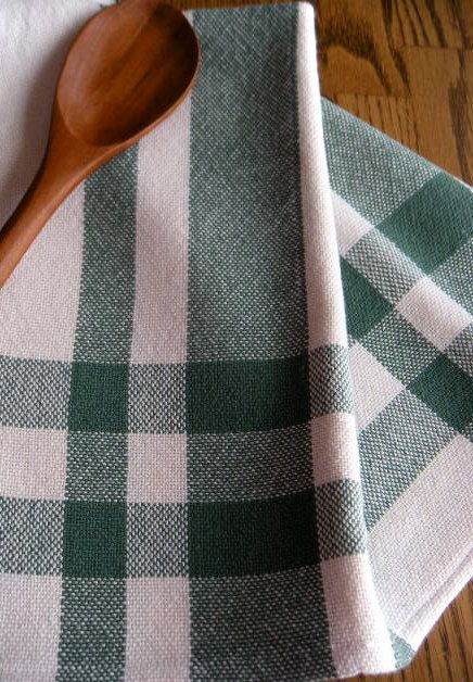 Hand Loomed Kitchen Towel, Green And White Towel, Woven Tea Towel, Woven  Kitchen Linen