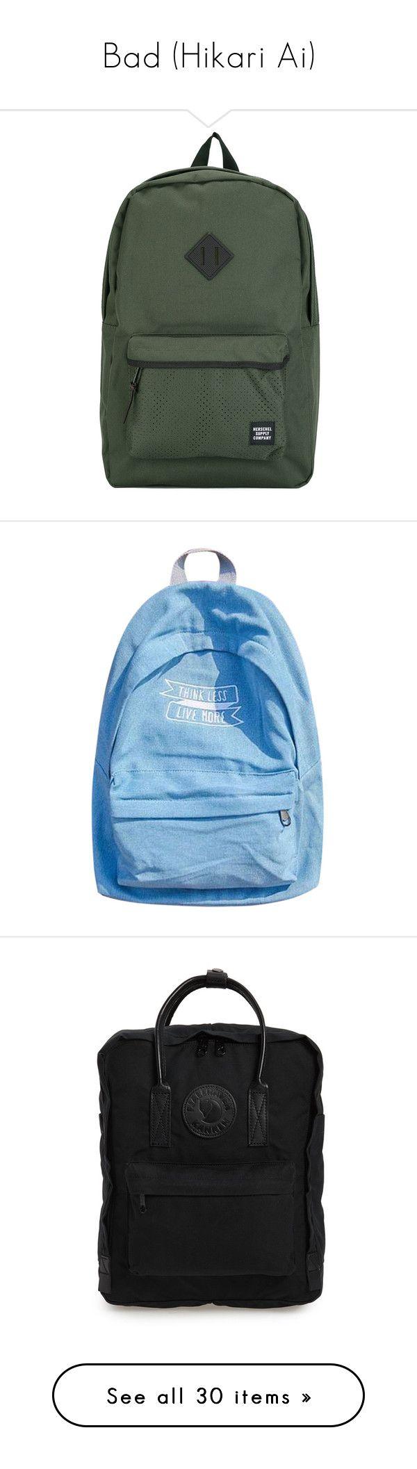 """Bad (Hikari Ai)"" by hikari-ai on Polyvore featuring bags, backpacks, backpack, green, knapsack bag, green backpack, backpack bags, day pack backpack, green bag и daypack bag"