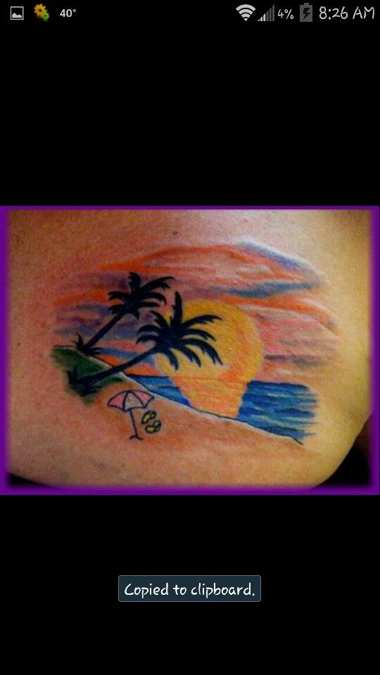 My sonja combs 39 tattoo beach sunset with palm trees and for Flip flop tattoo