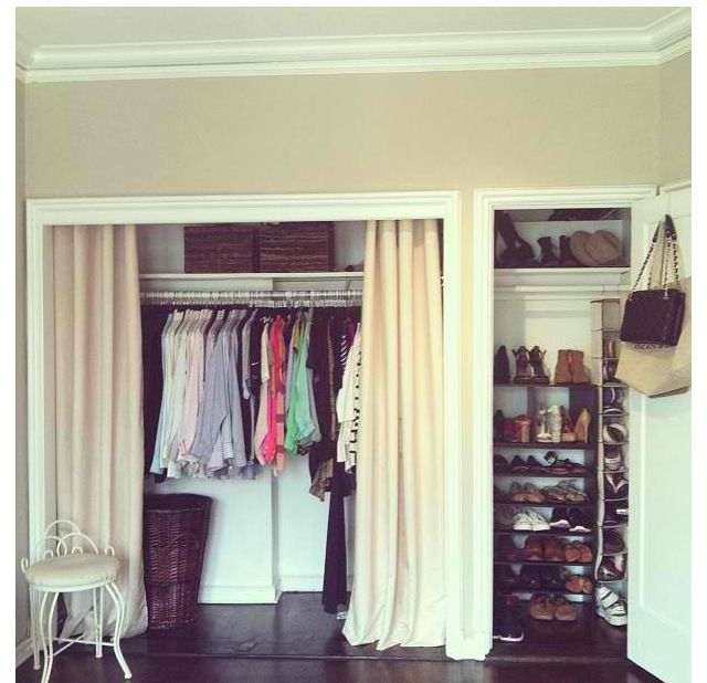 Install moulding, remove doors and use curtains instead. Don't have doors on any of my closets. Who knew I was so fashionable?