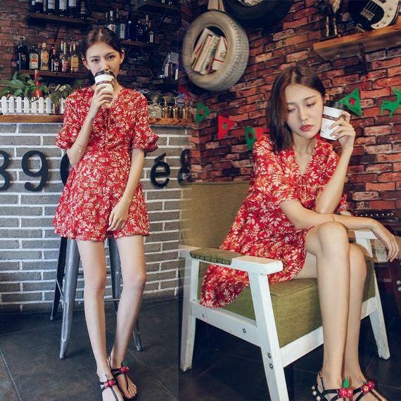 2017 년 여름 새로운 높은 허리 v 고리의 새로운 차례 꽃 시폰 작은 드레스 드레스 여성 짧은 소녀 치마