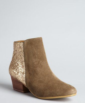Kelsi Dagger : olive leather and gold glitter zip up 'Twilight' ankle boots : style # 320295902