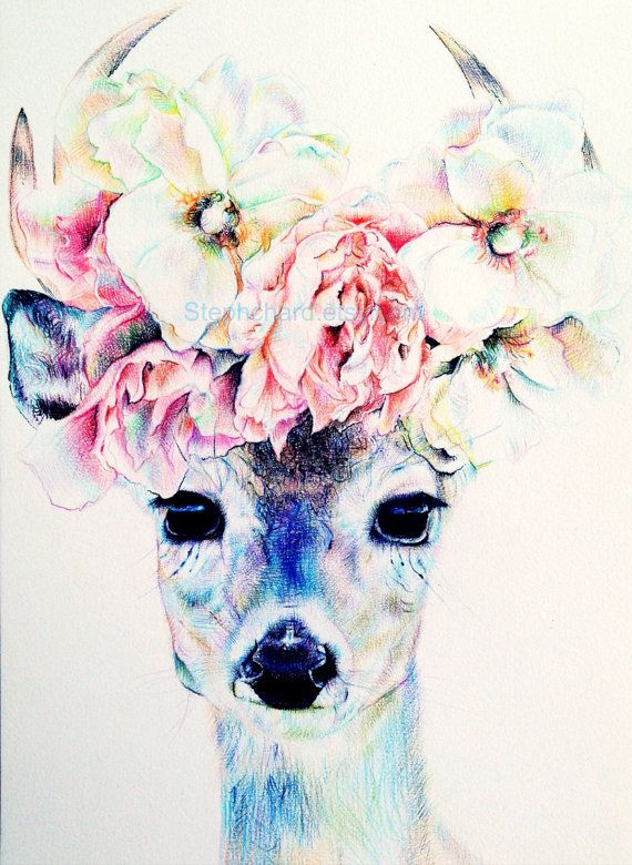 Deer with flower crown tattoo inspiration