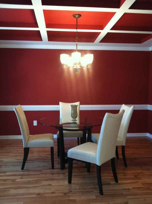 Check Out This RED Dining Room With Even The Ceiling Painted