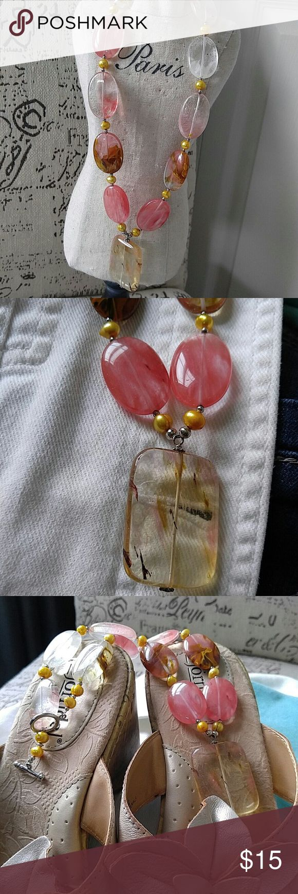 """Stone necklace. Salmon, clear, tan Clear, tans, golds, peachy and salmon are the colors in this one.  (For whatever reason I simply can't capture the salmon color. The stones are a more muted salmon color,  not vibrant or bright as they appear in pics.) 18.25"""" Jewelry Necklaces"""