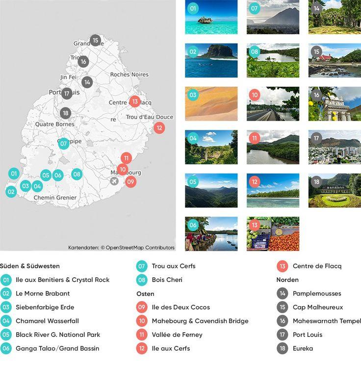 Alle wichtigen Sehenswürdigkeiten auf Mauritius auf einer Karte.