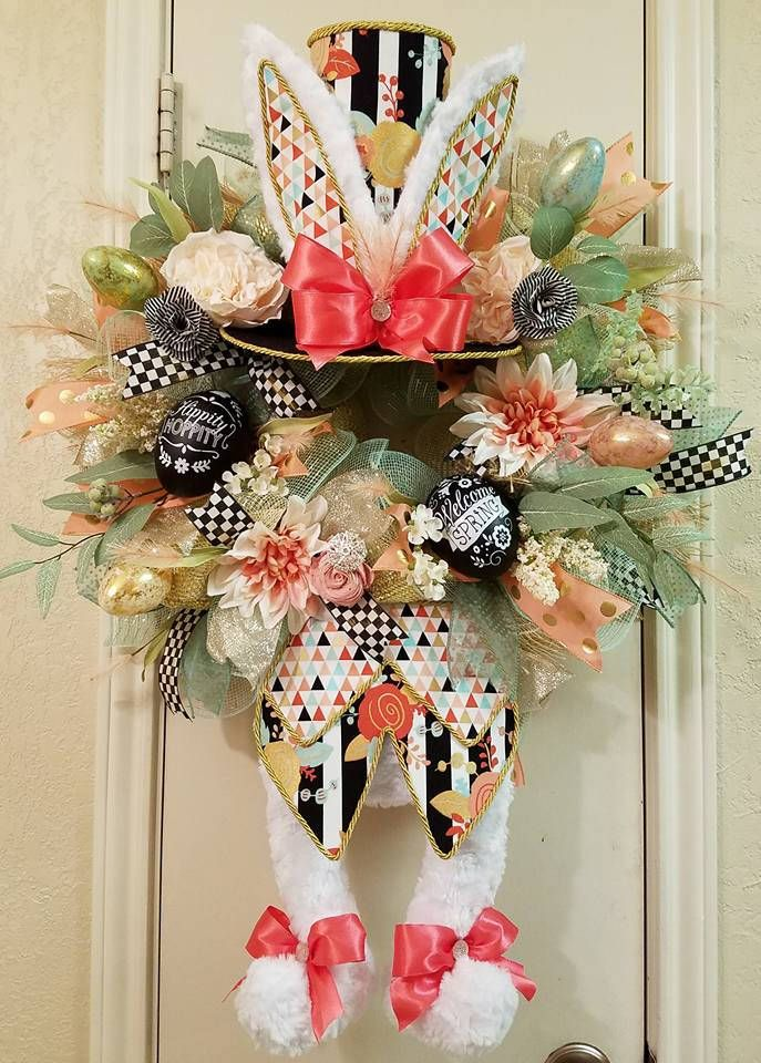 Easter Bunny Wreath, Easter Wreath, Bunny Wreath, Rabbit Wreath, Easter Decor, Rabbit Decor, Spring Wreath, Spring Decor, Front Door Wreath by SouthTXCreations on Etsy