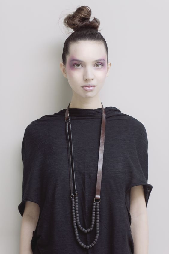 Luxury: Vegetable dyed leather and rare beads necklace: