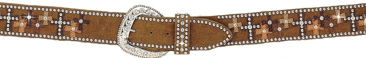 (MFWN3485044L) Western Ladies' Brown Leather Belt with Crosses - Large