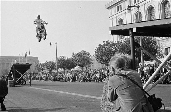 """""""Anybody can jump a motorcycle. The trouble begins when you try to land it."""" ~Evel Knievel 1967"""