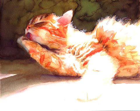 """The Clean Cat""  Fine art print from original watercolor painting."