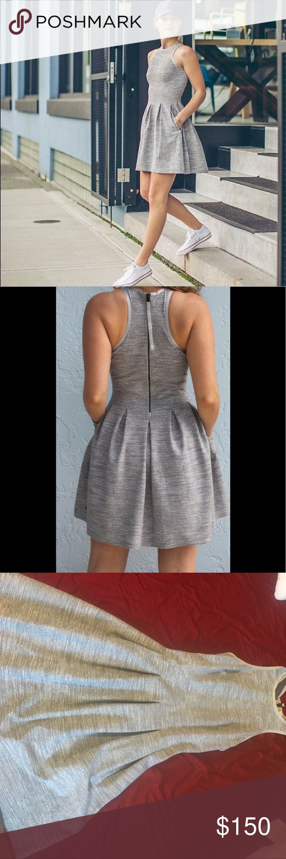 Brand new here to there gray lululemon dress sz 6 Brand new. Never worn. Flawless. Flattering. Sz 6. Gray with zip back and pockets 🖤🖤🖤 lululemon athletica Dresses