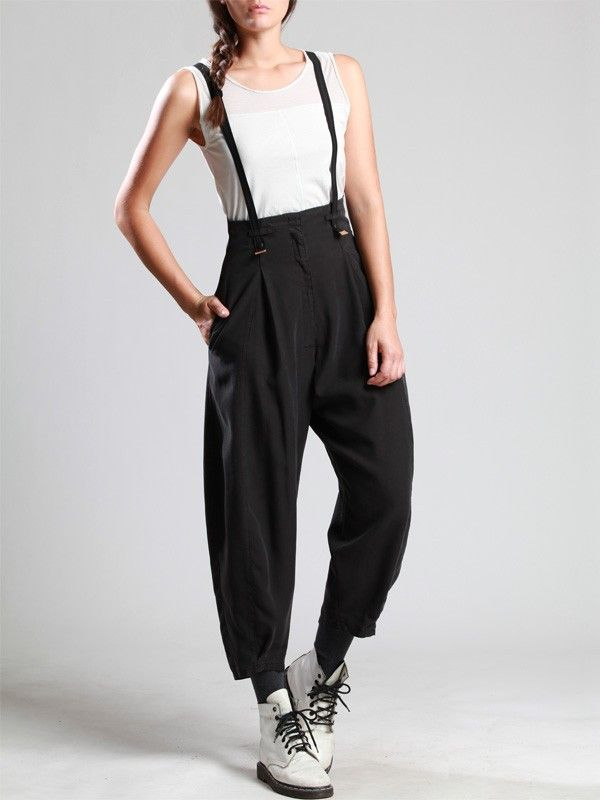 LYOCELL TROUSERS WITH REMOVABLE BRACES - JACKETS, JUMPSUITS, DRESSES, TROUSERS, SKIRTS, JERSEY, KNITWEAR, ACCESORIES - Woman -