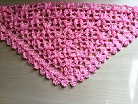 Chal crochet flores puff muy facil de tejer / Châle fleur puff crochet facile - YouTube