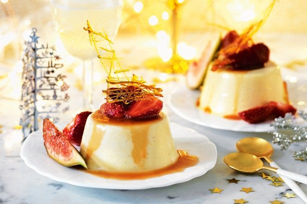 For the perfect Christmas dessert, try this indulgent eggnog panna cotta served with marsala figs and strawberries.