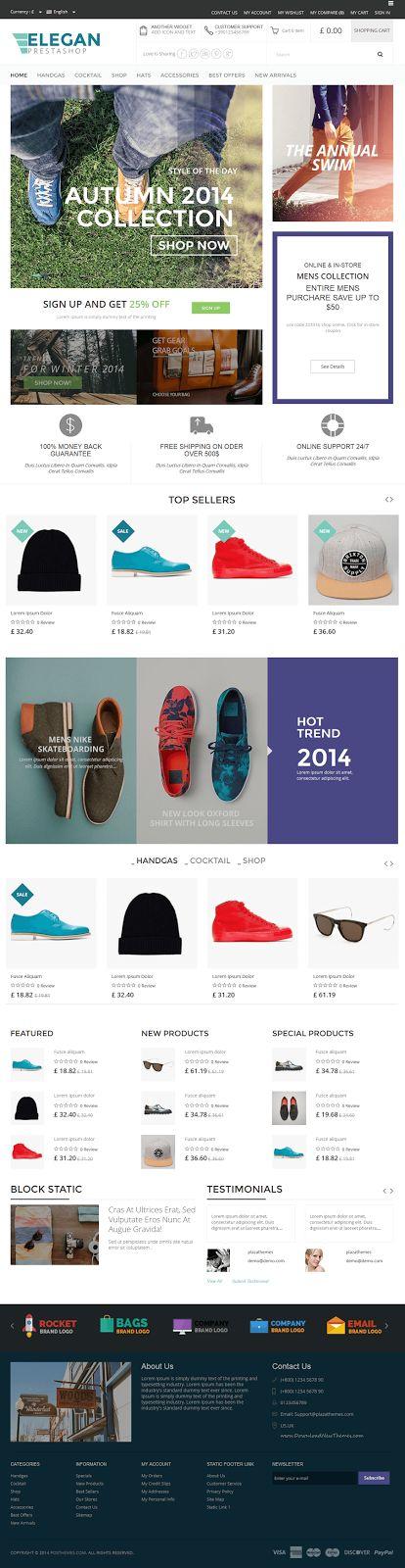 Elegan new Multi Store Responsive #Prestashop Theme #webdesign #fashion…