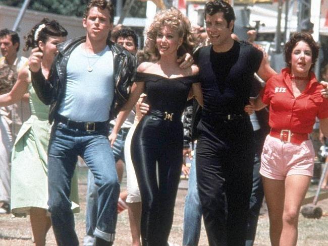 Jeff Conaway, Olivia Newton-John, John Travolta and Stockard Channing from the film Greas
