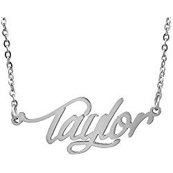 HUAN XUN Stainless Steel Delicate Name Necklace - great Valentine's day gift