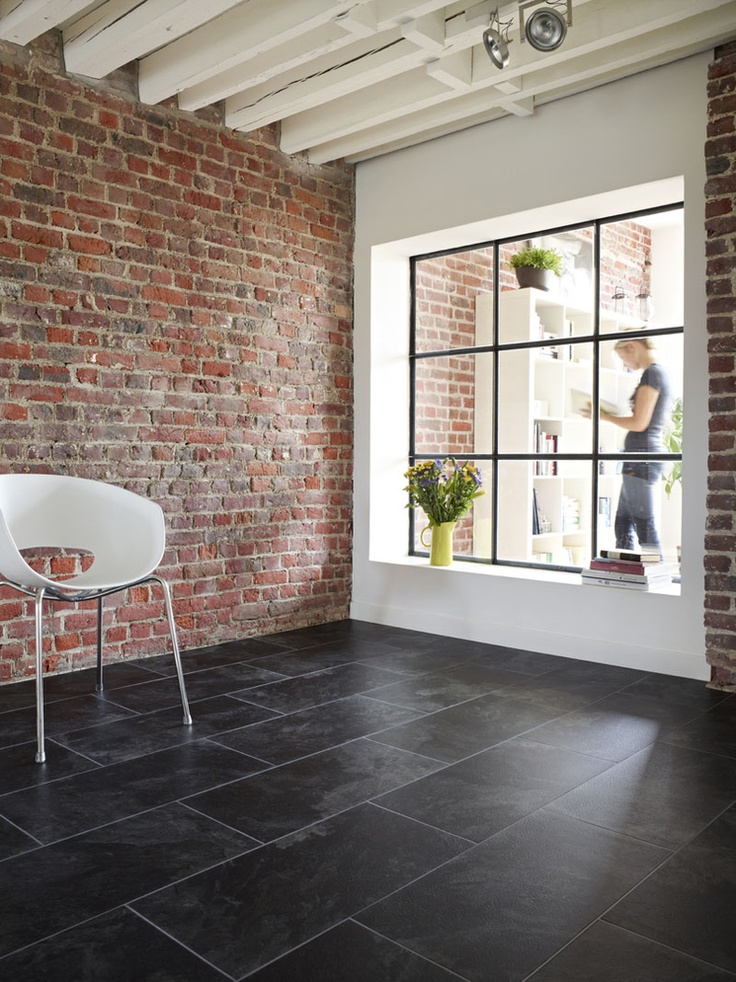 Dark tile, light grout, I LIKE THE SHAPE AND SIZE