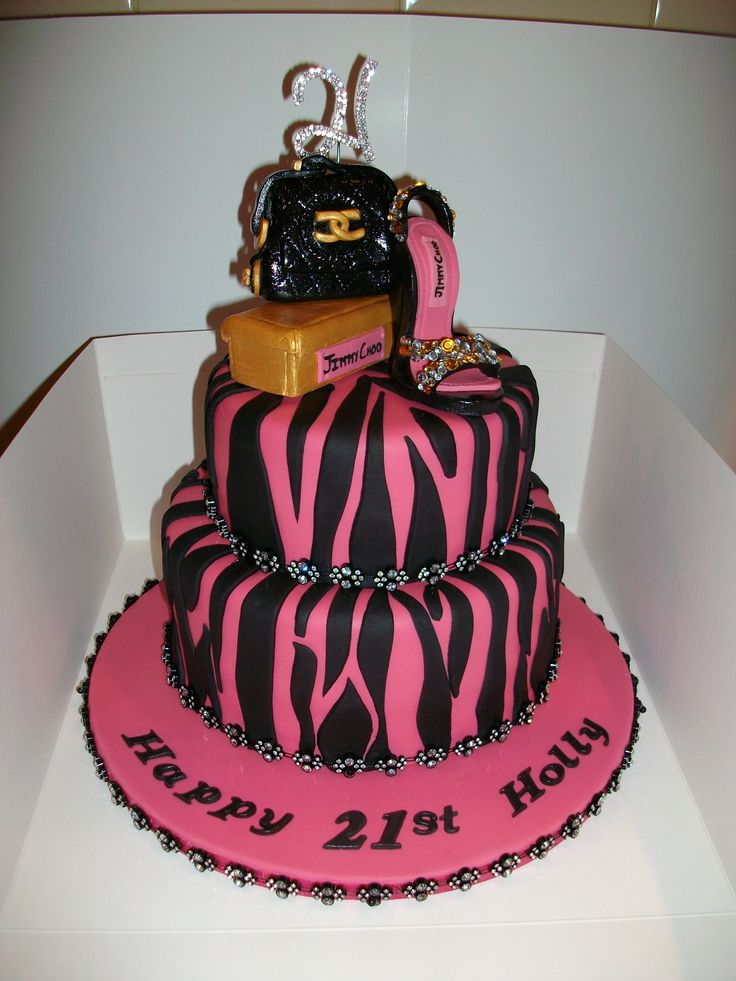21st Birthday Cake With Hand Made Fondant Jimmy Choo Shoe