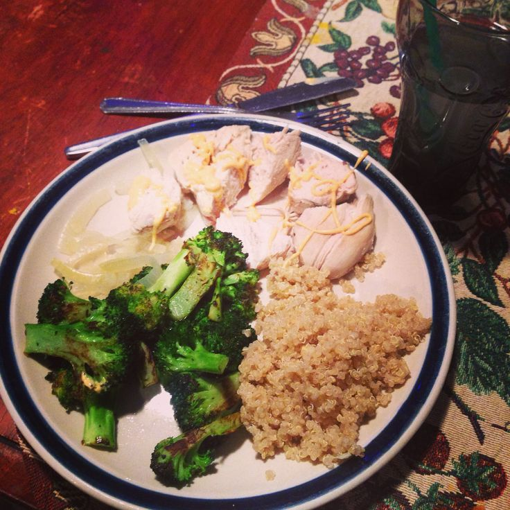 Poached Chicken with Fried Broccoli and Quinoa