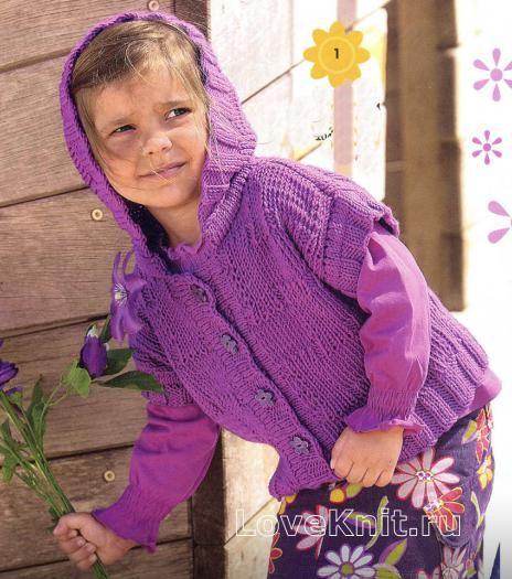 детский жилет с капюшоном фото к описанию