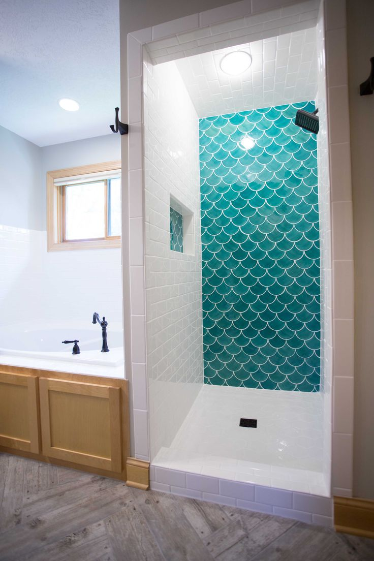 Blue Moroccan Fish Scale Tile Complimented By White Subway Bathroom Design Remodel