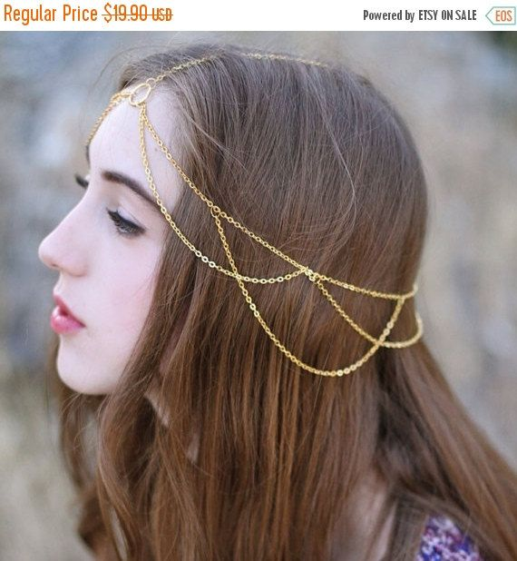 HALLOWEEN SALE Libby Gold Head Chain hair by CHROMIAandCRYSTAL                                                                                                                                                     More