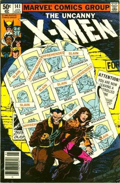 Dias de um futuro esquecido, história clássica dos X-men.  Uncanny X-Men 141 - Slain - Cyclops - Iceman - Wolverine - Marvel Comics Group - John Byrne, Terry Austin