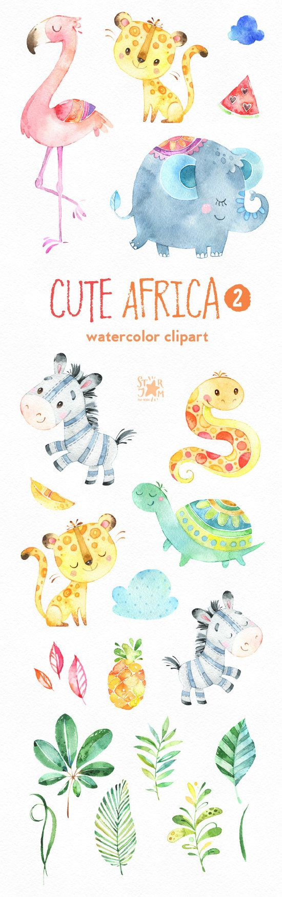 This part 2 of Cute African animals watercolor set is just what you needed for the perfect invitations, craft projects, paper products, party decorations, printable, greetings cards, posters, stationery, scrapbooking, stickers, t-shirts, baby clothes, web designs and much more. :::::: DETAILS :::::: This collection includes: - 21 Images in separate PNG files, transparent background, size approx.: 12-3in (3600-900px) 300 dpi RGB Part 1 of Cute Africa https://www.etsy.com/li...