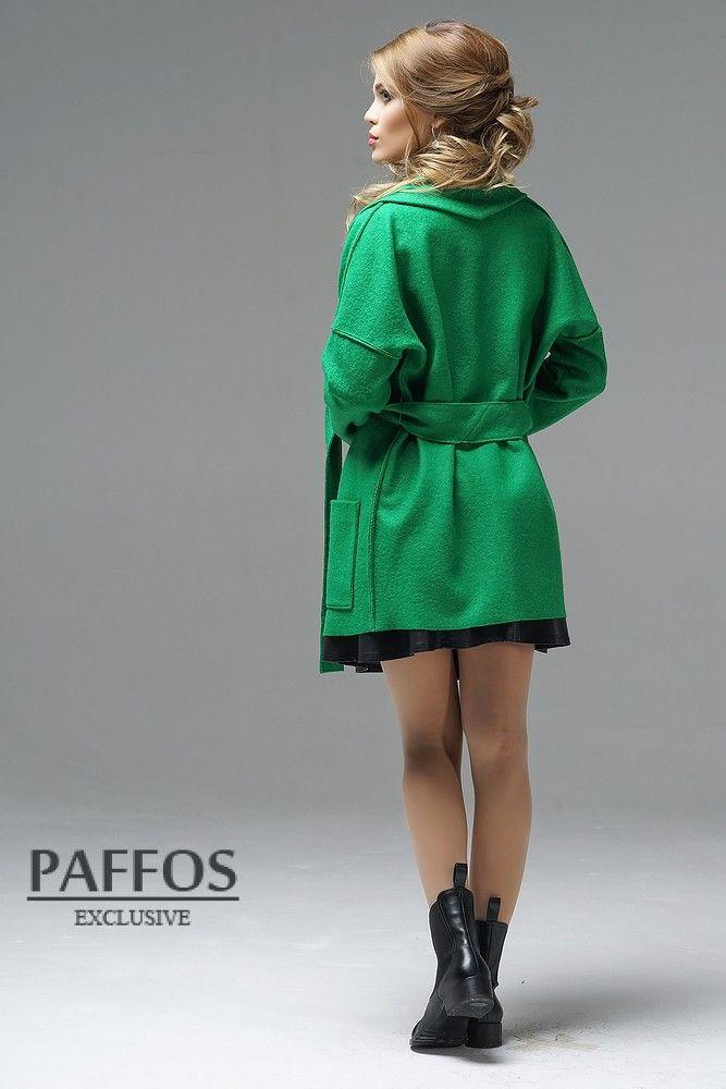 Зеленое пальто купить в интернет магазине Paffos.ru