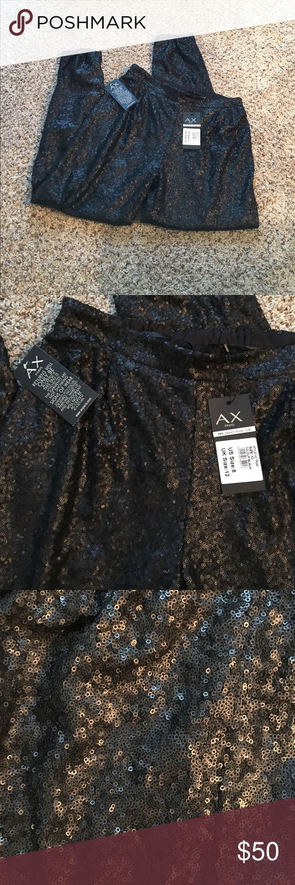 """NWT AX Paris Sequin Pants NWT, elastic waist measures 15"""" relaxed - stretches to 19"""". Inseam 30"""", ankles are also elastic so length can be adjusted. These are discontinued. AX Paris Pants"""